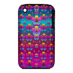Freedom Peace Flowers Raining In Rainbows Apple iPhone 3G/3GS Hardshell Case (PC+Silicone)