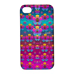 Freedom Peace Flowers Raining In Rainbows Apple Iphone 4/4s Hardshell Case With Stand