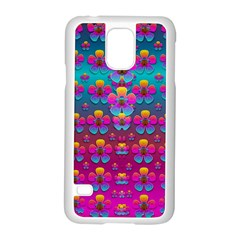 Freedom Peace Flowers Raining In Rainbows Samsung Galaxy S5 Case (white)