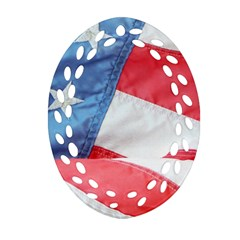 Folded American Flag Oval Filigree Ornament (2 Side)