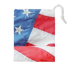 Folded American Flag Drawstring Pouches (Extra Large)