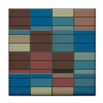 Rectangles in retro colors pattern                      			Tile Coaster Front