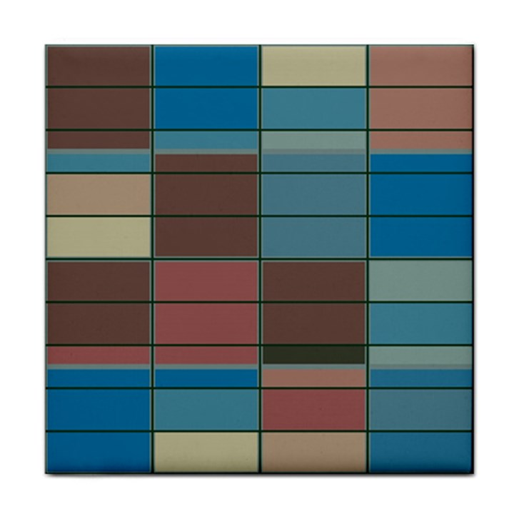 Rectangles in retro colors pattern                      			Tile Coaster