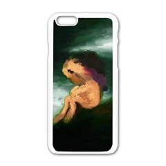 Hand Painted Lonliness Illustration Apple iPhone 6/6S White Enamel Case