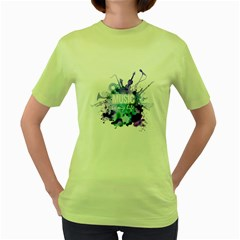 Music Is My Life In Watercolor Style Women s Green T-Shirt