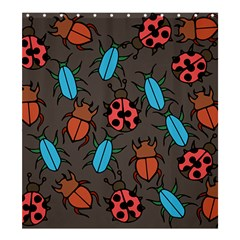 Beetles And Ladybug Pattern Bug Lover  Shower Curtain 66  x 72  (Large)