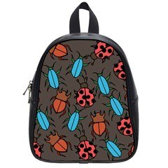 Beetles And Ladybug Pattern Bug Lover  School Bags (Small)