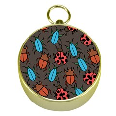Beetles And Ladybug Pattern Bug Lover  Gold Compasses
