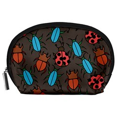 Beetles And Ladybug Pattern Bug Lover  Accessory Pouches (Large)