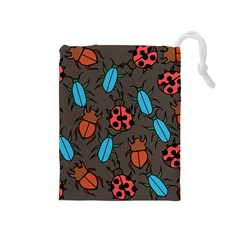 Beetles And Ladybug Pattern Bug Lover  Drawstring Pouches (Medium)