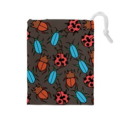Beetles And Ladybug Pattern Bug Lover  Drawstring Pouches (Large)