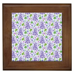 liliac flowers and leaves Pattern Framed Tiles