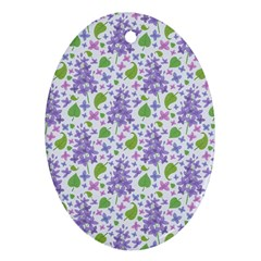 liliac flowers and leaves Pattern Ornament (Oval)
