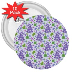 liliac flowers and leaves Pattern 3  Buttons (10 pack)