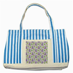 liliac flowers and leaves Pattern Striped Blue Tote Bag