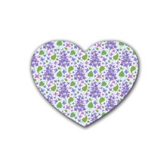 liliac flowers and leaves Pattern Rubber Coaster (Heart)