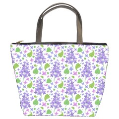 liliac flowers and leaves Pattern Bucket Bags