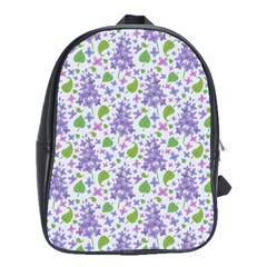 liliac flowers and leaves Pattern School Bags(Large)