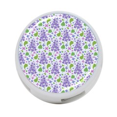 Liliac Flowers And Leaves Pattern 4 Port Usb Hub (two Sides)