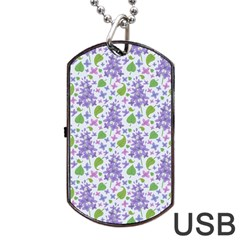 Liliac Flowers And Leaves Pattern Dog Tag Usb Flash (one Side)