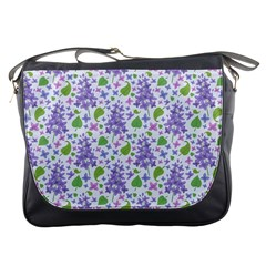 liliac flowers and leaves Pattern Messenger Bags