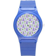 liliac flowers and leaves Pattern Round Plastic Sport Watch (S)