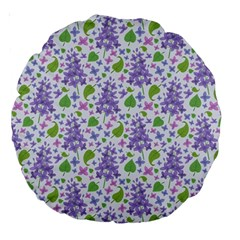 liliac flowers and leaves Pattern Large 18  Premium Round Cushions