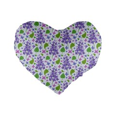 liliac flowers and leaves Pattern Standard 16  Premium Heart Shape Cushions