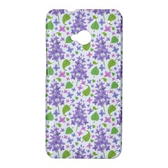 liliac flowers and leaves Pattern HTC One M7 Hardshell Case