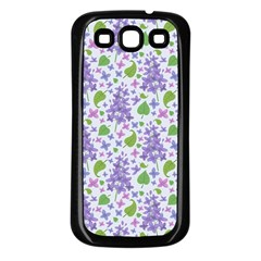 liliac flowers and leaves Pattern Samsung Galaxy S3 Back Case (Black)