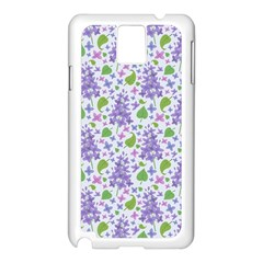 liliac flowers and leaves Pattern Samsung Galaxy Note 3 N9005 Case (White)
