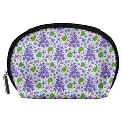 liliac flowers and leaves Pattern Accessory Pouches (Large)
