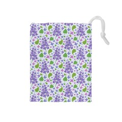 liliac flowers and leaves Pattern Drawstring Pouches (Medium)