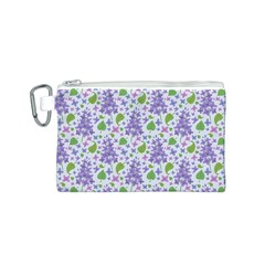 liliac flowers and leaves Pattern Canvas Cosmetic Bag (S)