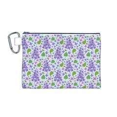 liliac flowers and leaves Pattern Canvas Cosmetic Bag (M)