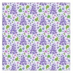 liliac flowers and leaves Pattern Large Satin Scarf (Square)