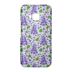 liliac flowers and leaves Pattern HTC One M9 Hardshell Case