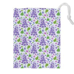 liliac flowers and leaves Pattern Drawstring Pouches (XXL)