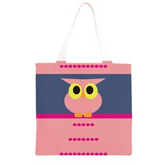 Cute Whimsical Pink Owl Grocery Light Tote Bag