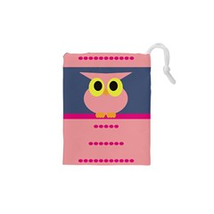 Cute Whimsical Pink Owl Drawstring Pouches (XS)