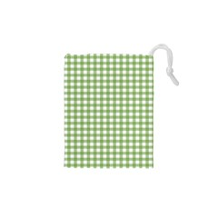 Avocado Green Gingham Classic Traditional Pattern Drawstring Pouches (xs)