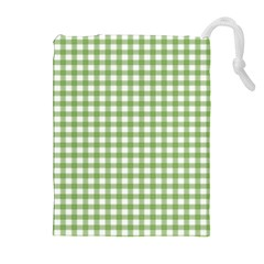Avocado Green Gingham Classic Traditional Pattern Drawstring Pouches (extra Large)