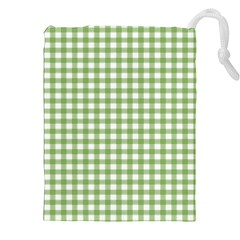 Avocado Green Gingham Classic Traditional Pattern Drawstring Pouches (XXL)