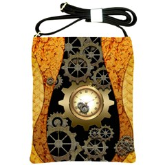 Steampunk Golden Design With Clocks And Gears Shoulder Sling Bags