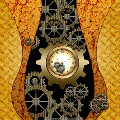 Steampunk Golden Design With Clocks And Gears Magic Photo Cubes