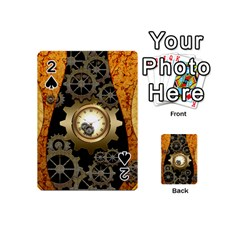 Steampunk Golden Design With Clocks And Gears Playing Cards 54 (mini)