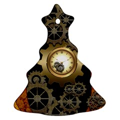 Steampunk Golden Design With Clocks And Gears Christmas Tree Ornament (2 Sides)