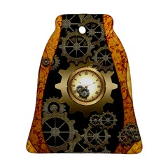Steampunk Golden Design With Clocks And Gears Bell Ornament (2 Sides)