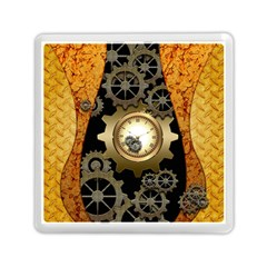 Steampunk Golden Design With Clocks And Gears Memory Card Reader (square)
