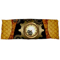 Steampunk Golden Design With Clocks And Gears Body Pillow Case Dakimakura (two Sides)